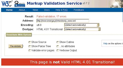 Walidator W3C wskazuje na 17 błędów HTML w dokumencie