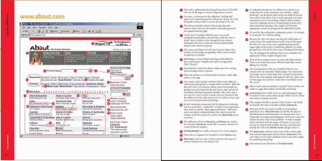 Jedna ze stron z analizą serwisu: po lewej wygląd, po prawej tekst