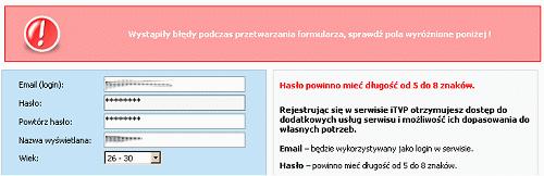 ITVP żąda hasła o długości od 5 do 8 znaków