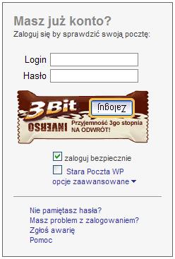 Logowanie do poczty WP: przycisk Zaloguj do góry nogami na tle reklamy batonika.