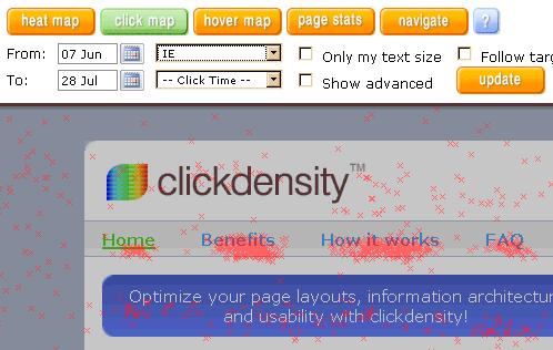 Demonstracja wyników Clickdensity