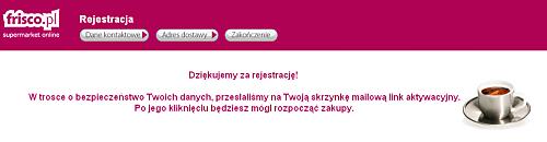 Komunikat po rejestracji we Frisco.pl