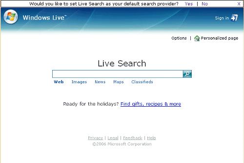 Strona Windows Live w przeglądarce Firefox: pole wyszukiwania i możliwość wyboru zakresu
