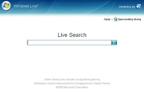 Strona Windows Live w przeglądarce Internet Explorer - jedno pole wyszukiwania i nic więcej