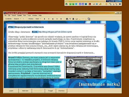 Zrzut ekranowy artykułu w SuperMemo