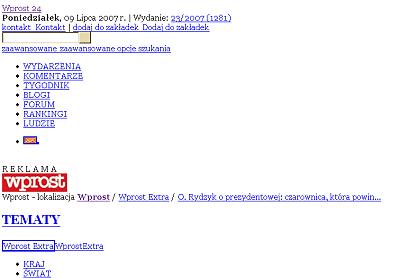 Goła strona Wprost.pl - sam tekst i odnośniki; efekt niezaładowania pliku CSS