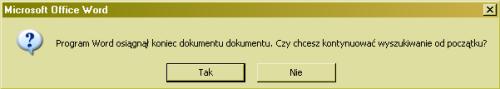 Komunikat Word: Program Word osiągnął koniec dokumentu dokumentu
