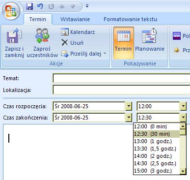 Wybór czasu spotkania w Outlooku: 30 minut, godzina, półtorej godziny itd.