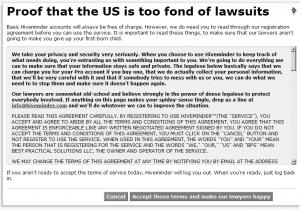 Formularz rejestracji zawierający długi regulamin z radą, że to ze względu na prawników
