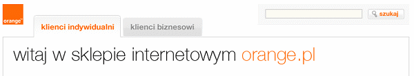 Napis: Witaj w sklepie internetowym Orange.pl