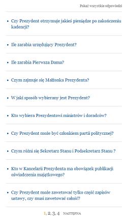 Stronicowanie pytań na beta.prezydent.pl - 10 pozycji na stronie i kilka stron