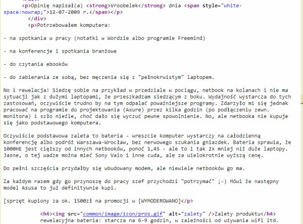 Kod HTML w którym widać podział na wiersze i akapity