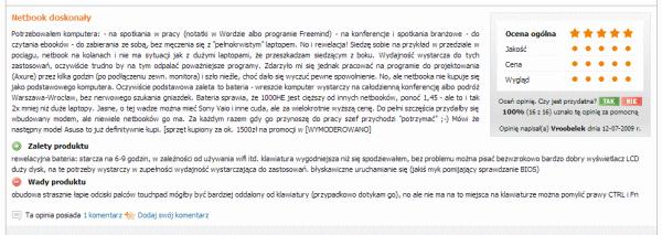 Tekst na stronie Ceneo bez przełamania linii - jednolity, trudno czytelny blok