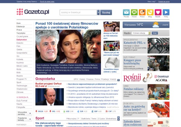 Nowy układ serwisu gazeta.pl