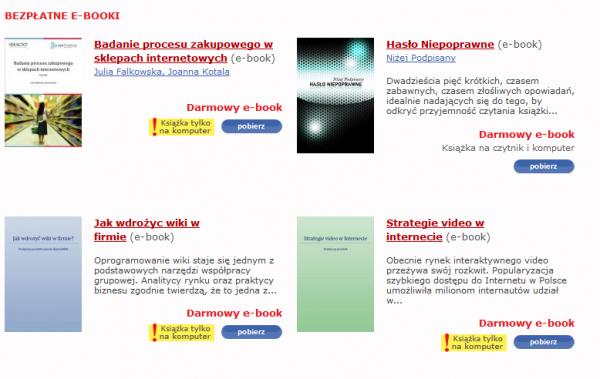 Bezpłatne książki w eClicto - przy 3 komunikat: książka tylko na komputer
