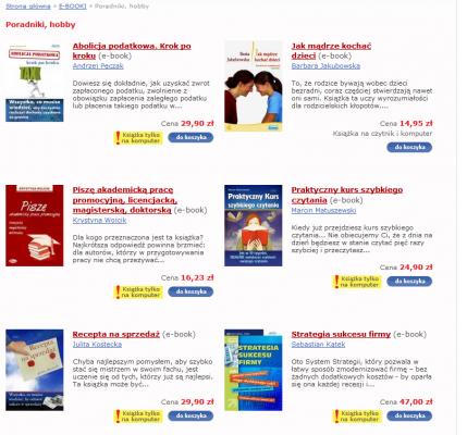E-clicto - sekcja poradnikowa ma na początku 5 książek, które są tylko na komputer
