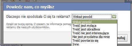 Dialog zamykania reklamy w Facebooku