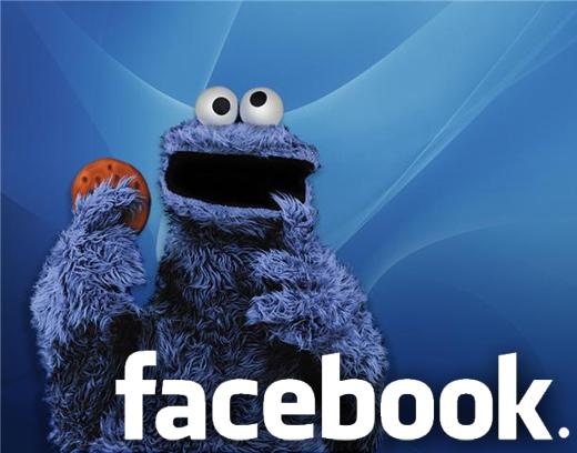 Ciasteczkowy potwór z logiem Facebooka