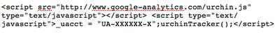 Stary kod Analytics z wykorzystaniem urchin.js