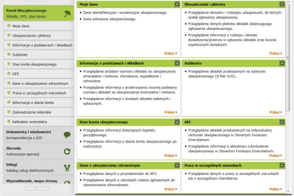 Strona główna platformy ZUS z linkami do informacji na temat ubezpieczonego i jego składek