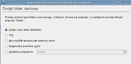 Ekran folderów sieciowych w przeglądarce Konqueror