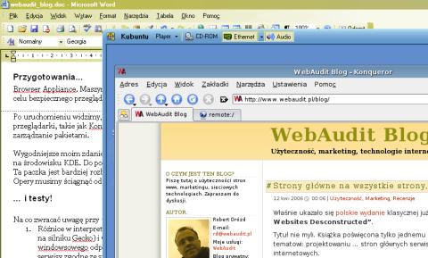 Ekran z systemem kubuntu na tle programu Word