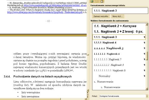 Boczny panel styli w edytorze Word 2003