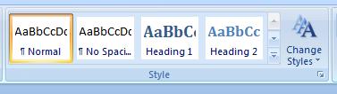 Łatwy dostęp do styli w głównym menu w edytorze Word 2007